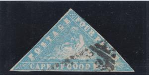 Cape of Good Hope SG 14b used. 1861 4p pale bright blue Wood Block, sound, F-VF.