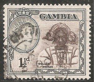 Gambia Stamp - Scott #155/A8 1 1/2p Gray & Dark Brown Canc/LH 1953