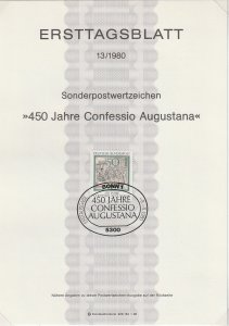 1980 Germany - FD Card (ETB) Sc 1330 - Confession of Augsburg, Engraving
