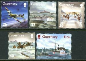 GUERNSEY Sc#827-831 2004 D-Day Anniversary Complete Set OG Mint NH