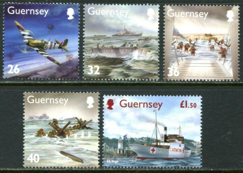 Guernesey Sc#827-831 2004 D-Day Anniversaire Complet Set Og Mint Nh