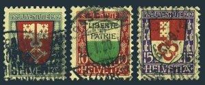 Switzerland B12-B14,used. Pro Juventute 1919.Arms of Nidwalden,Vaud,Obwalden.