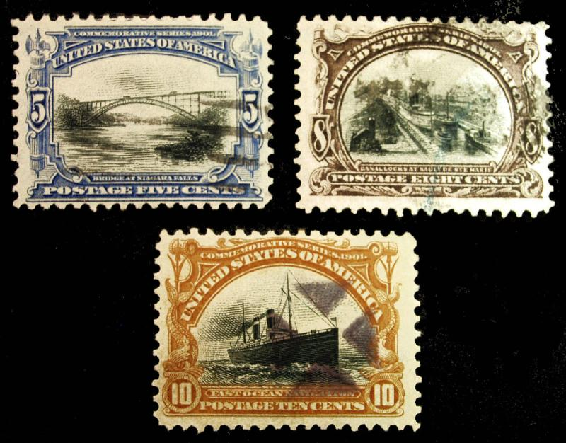 #297-299 5c-10c 1901 Pan American Nice VF Used Lot of 3