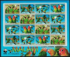 Malawi WWF Lilian's Lovebird 'Agapornis lilianae' Sheetlet of 4 sets
