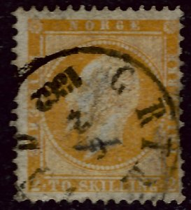 Norway 1857 Sc #2 Used F-VF Faults/Beautiful spacefiller Cat $165...Great Value!