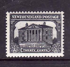 Newfoundland-Sc #181- id 7-unused,og,NH-20c grey black-Colonial Building-1931-