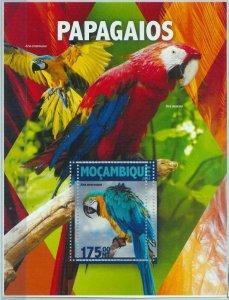 A1326 - MOZAMBIQUE, ERROR, MISPERF, Souvenir sheet: 2016, Parrots, Birds