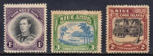 Niue - Scott #73-75 - MH - Heavy toning,thin at bottom #73 - SCV $30