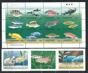 Tanzania 893-6 1992 Fish m/s and s.s. MNH