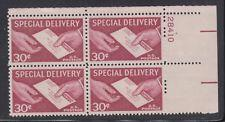 SCOTT # E21 PLATE BLOCK OF 4 30 CENT SPECIAL DELIVERY MINT NEVER HINGED GEM !!!