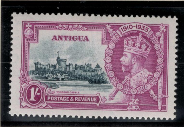 Antigua Stamp Scott #80, Mint Hinged, Silver Jubilee High Value 1 Shilling - ...