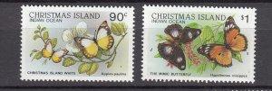 J28379, 1987-89 christmas island part of set better mnh #208-9 butterflies