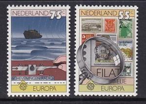 Netherlands  587-588  MNH   1979   Europa  postal history .  ship .  stamps