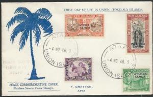 TOKELAU IS 1946 cover ATAFU / UNION ISLANDS cds, FDC of Samoa Peace......11504