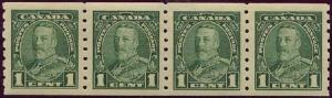 Canada - 1935 1c KGV Coil Strip of 4 VF-NH #228