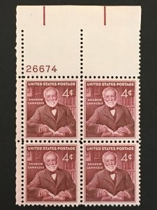 Scott # 1171 Andrew Carnegie, MNH Plate Block of 4
