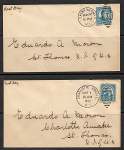 US VIRGIN ISLANDS 1937 Last Day ST Thomas & First Day Charlotte Amalie Covers