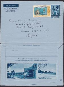 TRINIDAD 1978 20c pictorial airletter uprated commercially ussed to UK......6076