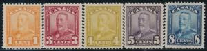 CANADA #149, 151-154 F-VF OG LH / NH (#149 LH THE REST IS NH) CV $173.50 BR6326