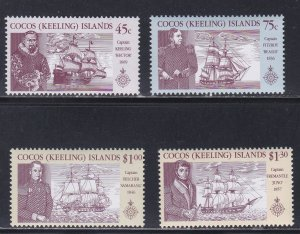 Cocos Islands # 218-221, Explorers and their Ships, Hinged, 1/3 Cat.