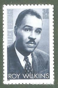 3501 Roy Wilkins US Single Mint/nh FREE SHIPPING