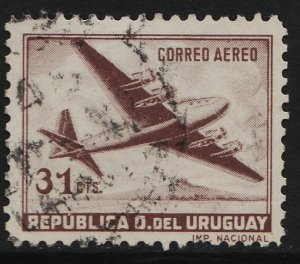 Uruguay 1952/1959 Air Mail / four motored Plane 31c (1/20) USED