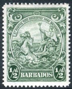 BARBADOS-1942 ½d Green Perf 14.  A lightly mounted mint example Sg 248b