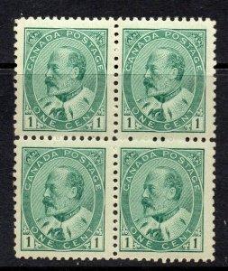 Canada 1903 EDVII 1c green BLOCK 4 SG 175 mint CV £140 - (one stamp MNH)