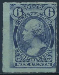 #RB17c 6¢ VIOLET BLUE PROPRIETARY STAMP ROULETTED 6, THIN SPOT CV $900 BT8222