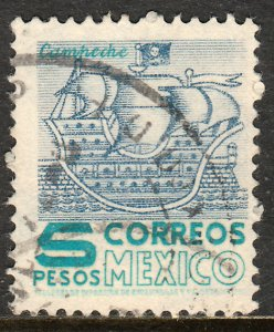 MEXICO 883, $5Pesos 1950 DEF 2nd ISSUE TYPE I. USED, F-VF. (1412)