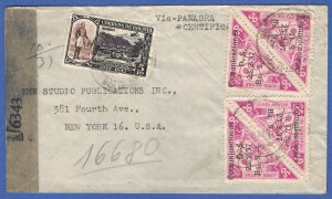 1945 WWII Airmail, US Censored cover BOLIVIA > New York via Miami, Scott 340