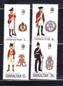 Gibraltar 330-333 Set MNH Military Uniforms (A)