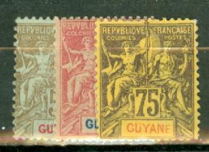 French Guiana 32-37, 39-48 mint some no gum CV $413, scan shows only a few