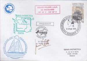 France 1990 Voilier Polare U.A.P.Cover Trans Antarctica Voyage Signed by Captain