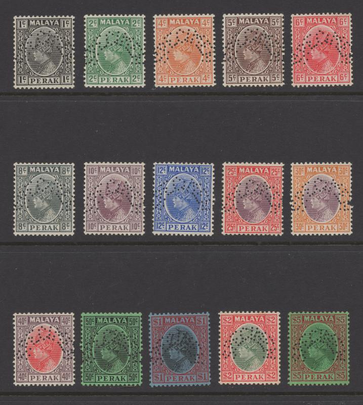 Malaya Perak - 1935 - SG 88s-102s - MNH