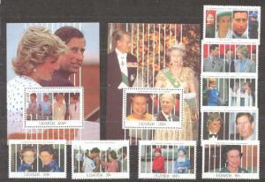 Uganda 918-27 MNH Royal family(Diana, Elizabeth) SCV29.