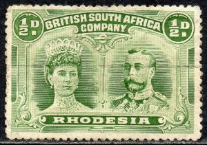 1913 Rhodesia Sg 182 ½d yellow-green (Perf 13½) Fine Used
