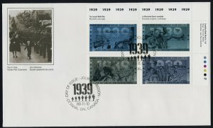 Canada 1263a TR Plate Block on FDC - WWII, Aircraft, Ship, Soldier, Convoy