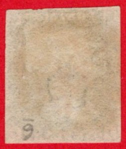 GBR SC #1 U (J,J) 1840 Queen Victoria 4 margins w/red MC CV $390.00
