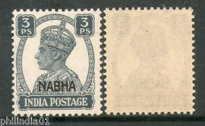 India NABHA State KG VI 3ps Postage SG 105 / Sc 100 MNH Fine