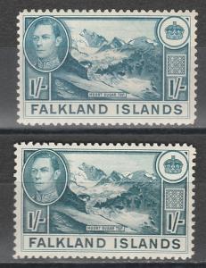 FALKLAND ISLANDS 1938 KGVI MOUNT SUGAR TOP 1/- 2 SHADES