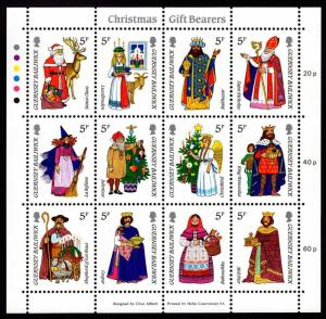 GUERNSEY BAILIWICK - 1985 CHRISTMAS GIFT BEARERS - MINIATURE SHEET MNH