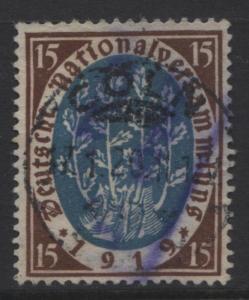 GERMANY -Scott 106- Nat.Assembly-1919 - Used - Single 15pf Choc & Blue Stamp2