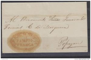 O) 1840 COLOMBIA, PRESTAMP COVER FROM PAMPNA - PAMPLONA, TO POPAYAN, ADDRESSED T