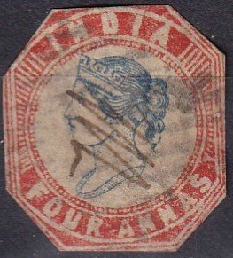 India #6 F-VF  Used Cut To Shape CV $42.50 (Z1463)
