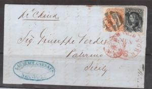 USA #69 & #71 Used On Rare Cover To Palermo Italy **With Certificate**