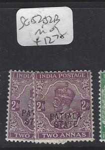 INDIA  PATIALA  (P2410B)  KGV    2 A   SG 52, 52B      MOG