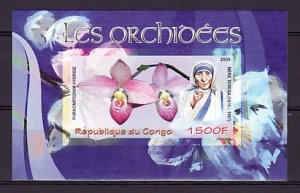 Congo, 2009 issue. Mother Teresa & Orchid, IMPERF s/sheet. ^