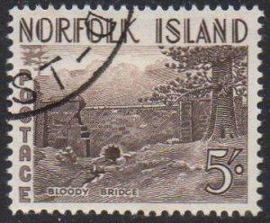 Norfolk Island 1953 5/- Bloody Bridge used