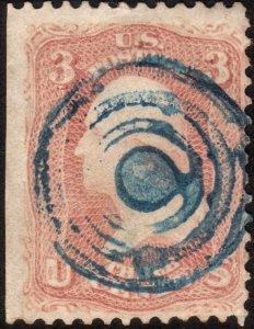 1861, US 3c, George Washington, Used, Sc 65, Blue cancel